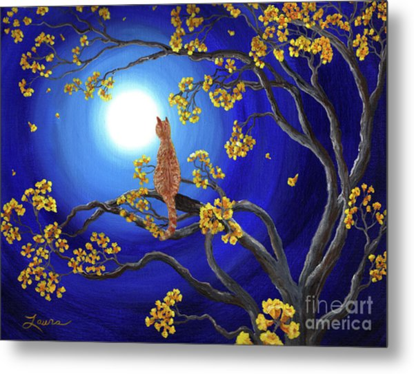 Golden Flowers In Moonlight Metal Print