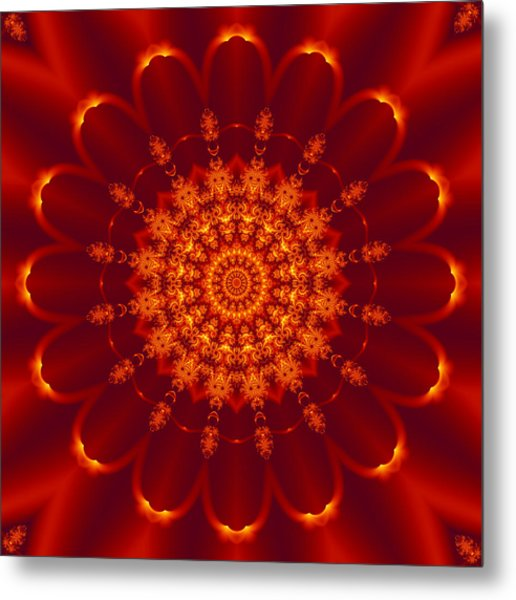 Golden Fractal Mandala Daisy Metal Print