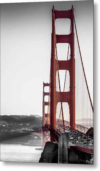Golden Gate Black And Red Metal Print