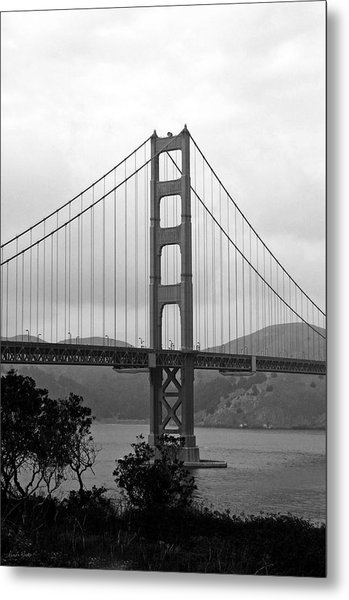 Golden Gate Bridge- Black And White Photography By Linda Woods Metal Print