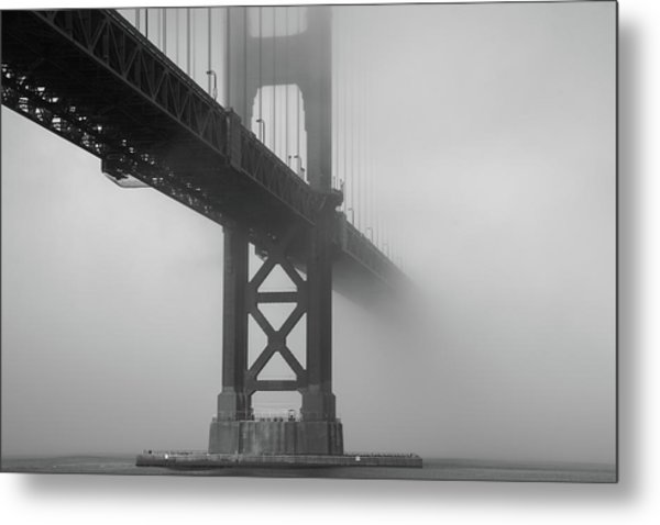 Metal Print featuring the photograph Golden Gate Bridge Fog - Black And White by Stephen Holst