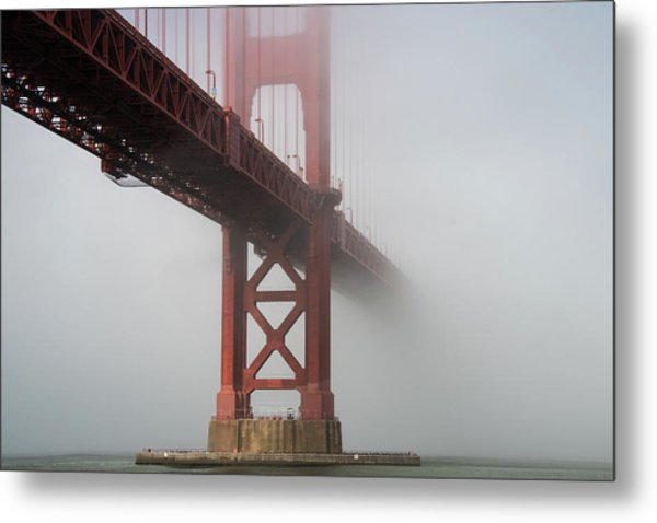Metal Print featuring the photograph Golden Gate Bridge Fog - Color by Stephen Holst