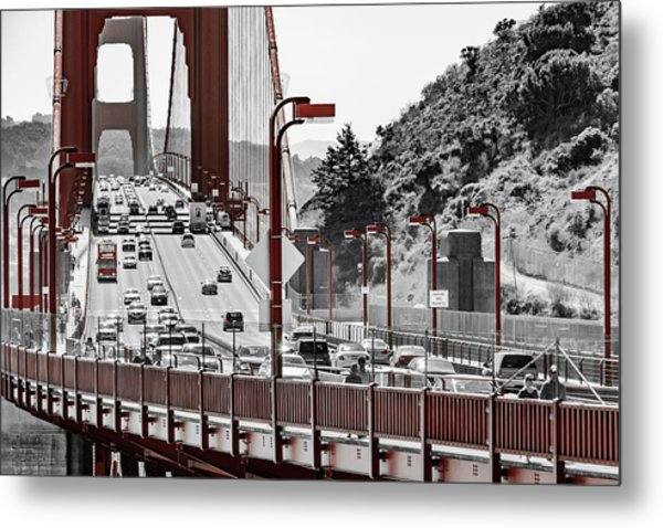Golden Gate Bridge Street View Metal Print