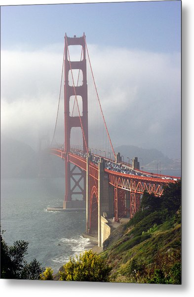 Golden Gate Bridge In The Fog Metal Print by Mathew Lodge