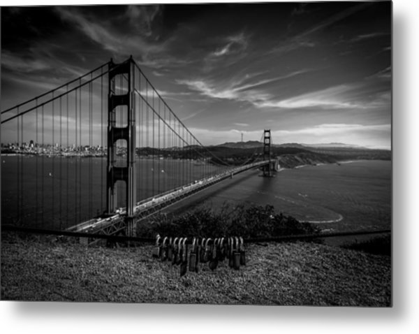 Golden Gate Bridge Locks Of Love Metal Print