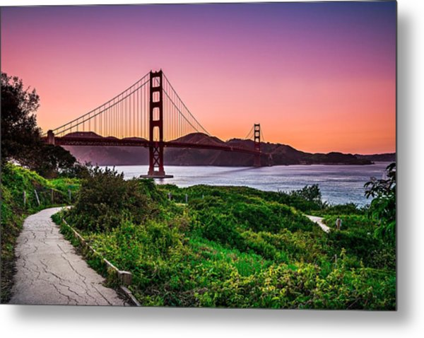 Metal Print featuring the photograph Golden Gate Bridge San Francisco California At Sunset by Alex Grichenko
