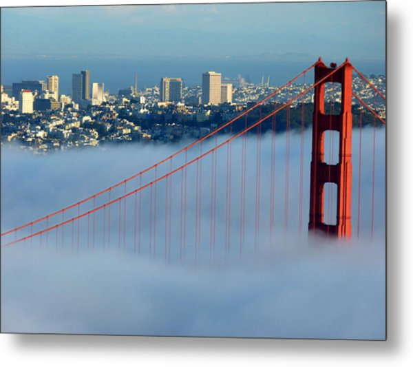 Golden Gate Bridge Tower In Sunshine And Fog Metal Print