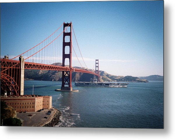 Golden Gate Bridge With Aircraft Carrier Metal Print