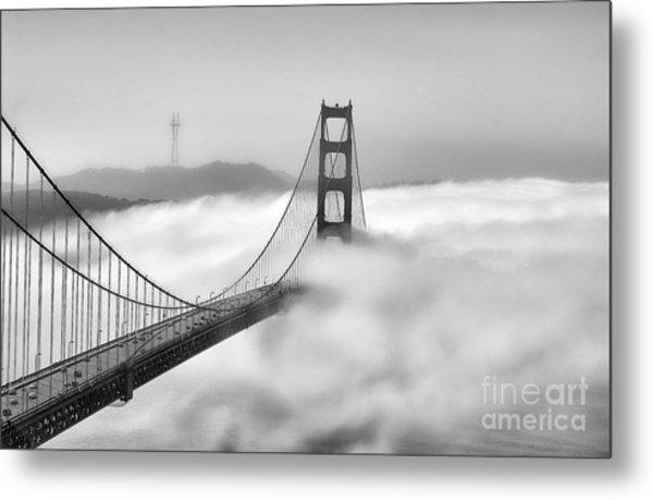 Golden Gate Bw Fog Metal Print
