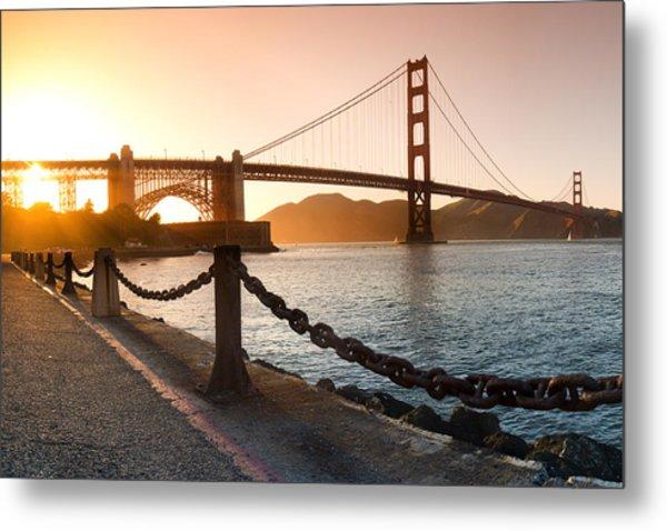 Golden Gate Chain Link Metal Print
