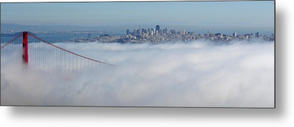 Golden Gate Fog Pano Metal Print