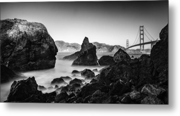 Golden Gate In Black And White Metal Print