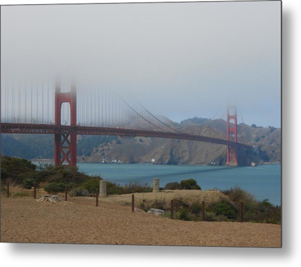 Golden Gate In The Clouds Metal Print