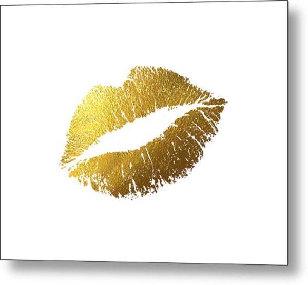 Gold Lips Metal Print