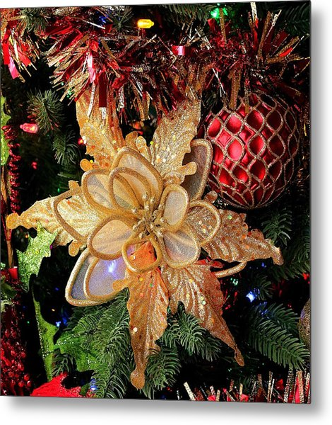 Golden Glitter Christmas Ornaments Metal Print