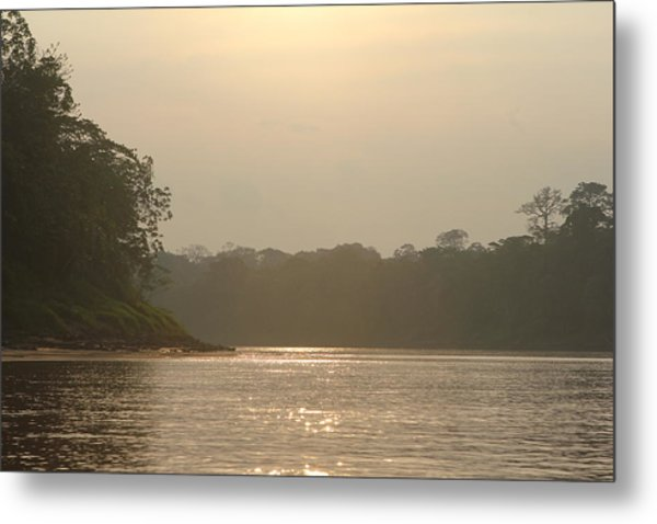 Golden Haze Covering The Amazon River Metal Print
