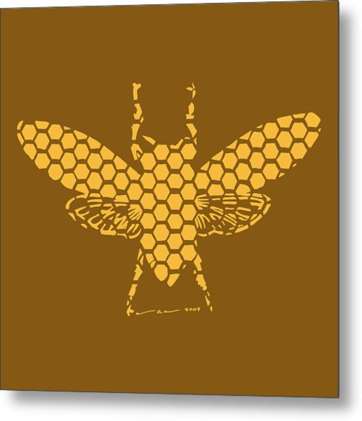 Golden Hex Bee Metal Print by Karl Addison