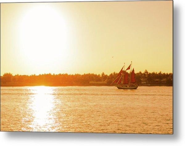 Golden Hour Sailing Ship Metal Print