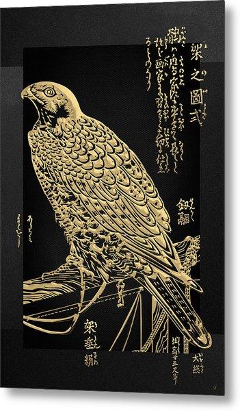 Golden Japanese Peregrine Falcon On Black Canvas  Metal Print