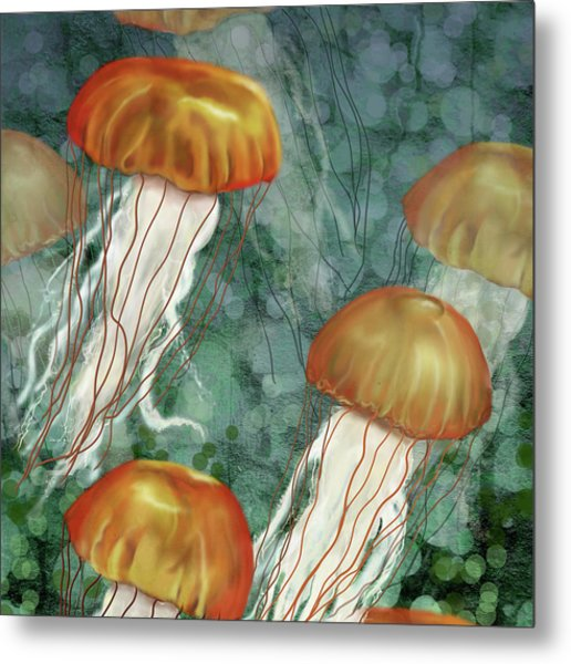 Golden Jellyfish In Green Sea Metal Print