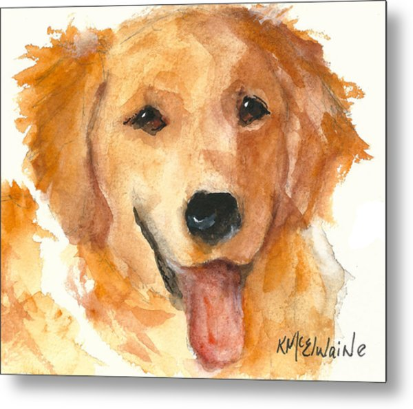Golden Retriever Watercolor Painting By Kmcelwaine Metal Print