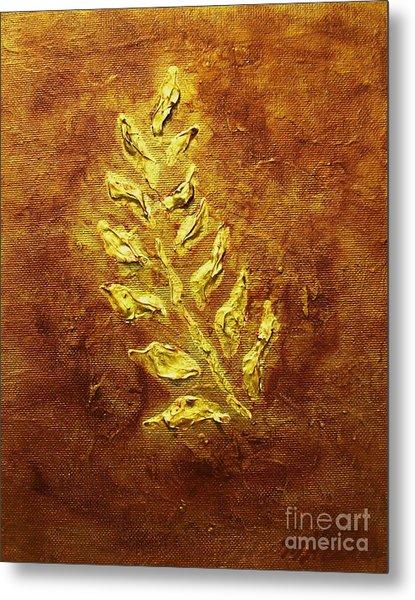 Golden Leaf Metal Print by Marsha Heiken
