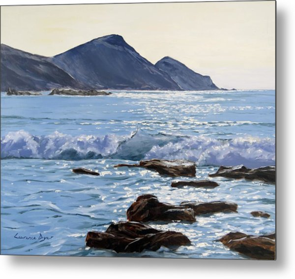 Metal Print featuring the painting Golden Light At Crackington Haven by Lawrence Dyer