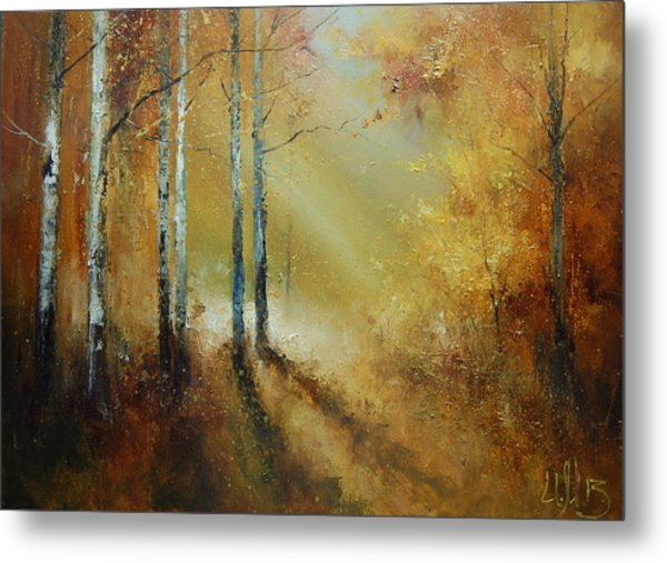 Golden Light In Autumn Woods Metal Print
