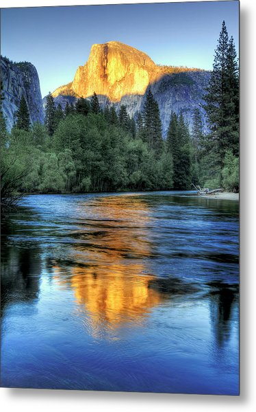 Golden Light On Half Dome Metal Print