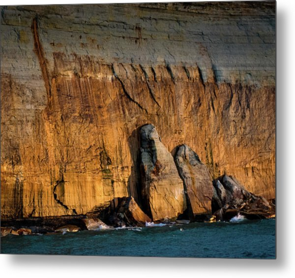 Golden Light On The Pictured Rocks. Metal Print