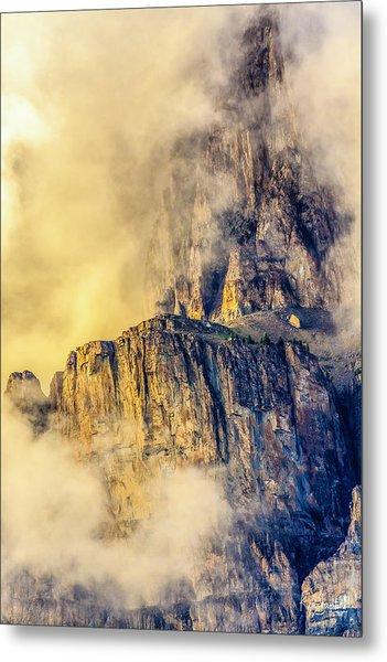 Golden Mist On Cathedral Mountain Metal Print