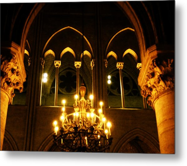 Golden Notre Dame Metal Print