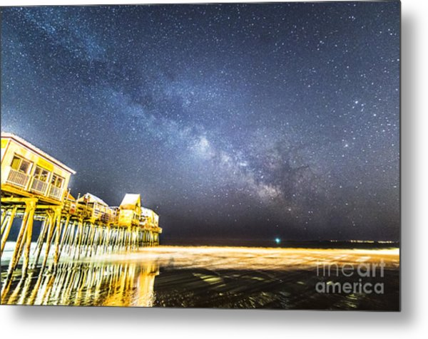 Golden Pier Under The Milky Way Version 1.0 Metal Print