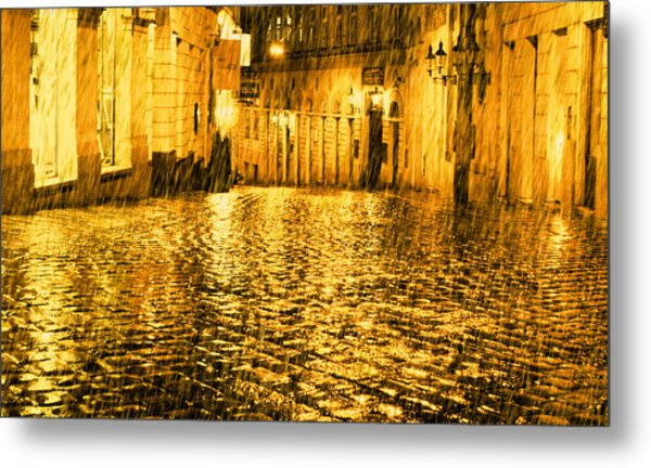Golden Rain In Vienna At Night Metal Print