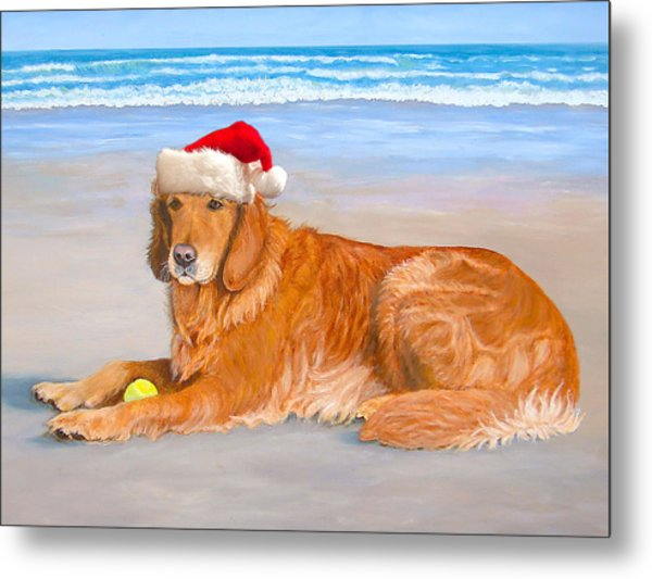 Golden Retreiver Holiday Card Metal Print