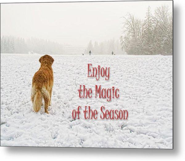 Golden Retriever Dog Magic Of The Season Metal Print