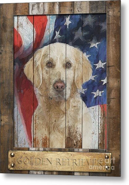 Golden Retriever Flag Poster Metal Print by Tim Wemple