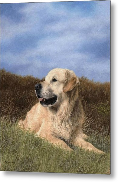 Golden Retriever Painting Metal Print