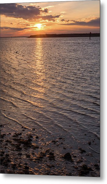 Golden Ripples Lbi New Jersey Sunset  Metal Print