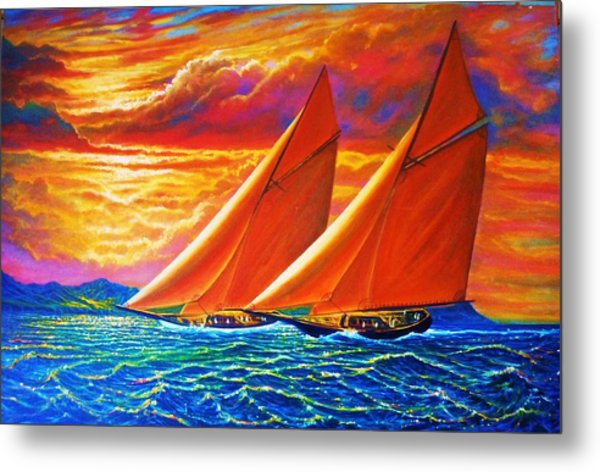 Golden Sails Metal Print