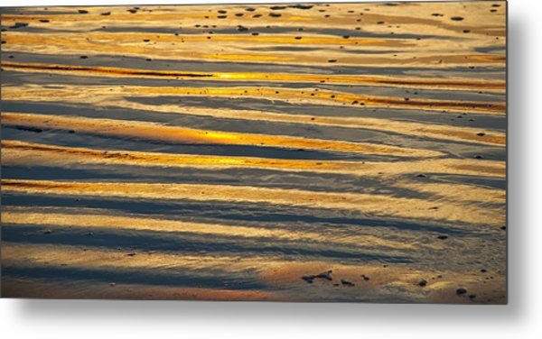 Golden Sand On Beach Metal Print