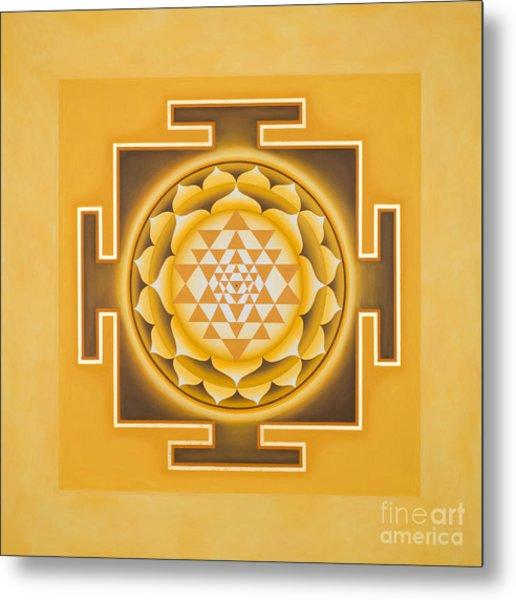 Golden Sri Yantra - The Original Metal Print