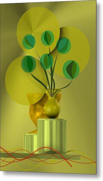 Metal Print featuring the digital art Golden Still Life by Alberto RuiZ