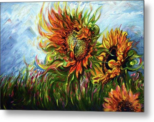 Golden Sunflowers - Harsh Malik Metal Print