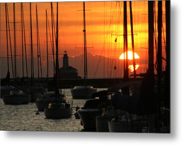 Golden Sunrise On Monroe Harbor Metal Print by Gregory Jeffries
