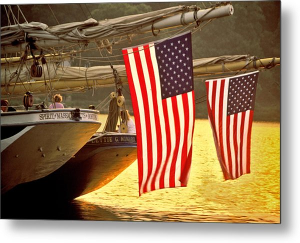 Golden Sunset And American Flags Metal Print by Stephen Sisk