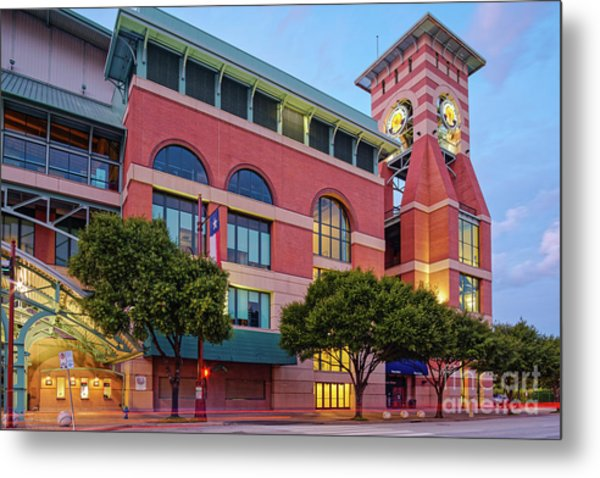 Golden Sunset Glow On The Facade Of Minute Maid Park - Downtown Houston Harris County Texas Metal Print