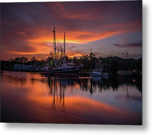 Golden Sunset On The Bayou Metal Print