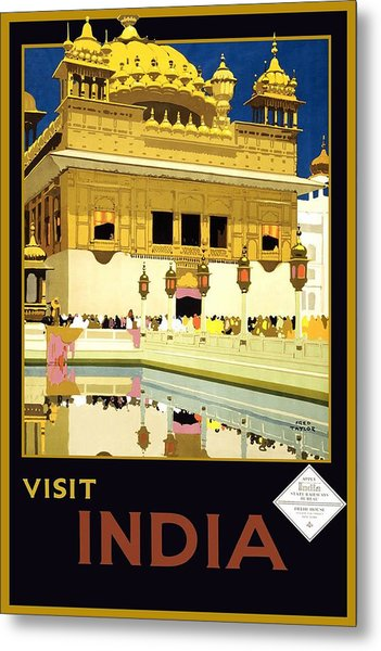 Golden Temple Amritsar India - Vintage Travel Advertising Poster Metal Print