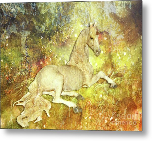 Golden Unicorn Dreams Metal Print